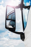 Rear-view mirror on the truck Stock Photography