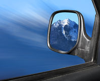 Rear view mirror in winter Stock Photography