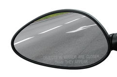 Rear View Mirror With Warning Text Objects In Mirror Are Closer Than They Appear, Isolated Royalty Free Stock Photos