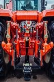 Rear view of modern agricultural tractor. Hydraulic hitch. Hydraulic lifting frame. Rear view of modern agricultural tractor. Hydraulic hitch. Lifting frame Royalty Free Stock Photos