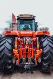 Rear view of modern agricultural tractor. Hydraulic hitch. Hydraulic lifting frame. Rear view of modern agricultural tractor. Hydraulic hitch. Lifting frame Stock Photos