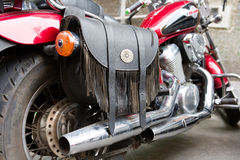 A rear view of a motorcycle Royalty Free Stock Images