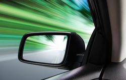Rear-view of moving car Stock Photo