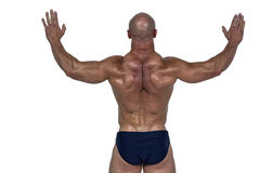 Rear view of muscular man with arms raised Royalty Free Stock Photo