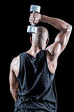 Rear view of muscular man exercising with dumbbell Stock Photo