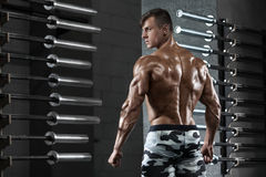 Rear view muscular man posing in gym, showing back and triceps. Strong male naked torso, working out stock photography