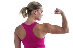 Rear view of muscular woman flexing muscles Royalty Free Stock Image