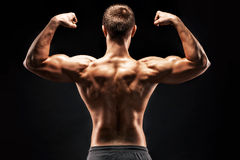 Rear view of muscular young man showing back, biceps muscles Stock Photo