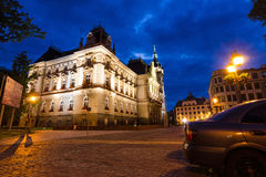 Rear view of the Neo-Renaissance town hall in night scenery Royalty Free Stock Photography