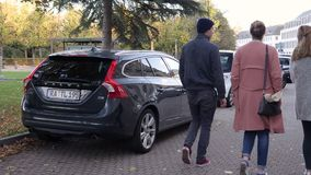 Rear view of new Volvo car parked city. Karlsruhe, Germany - Oct 29, 2017: Rear view of new Volvo car parked in front of Federal Constitutional Court stock footage