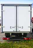 Rear view of new white truck Royalty Free Stock Image