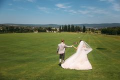 Rear view, newlyweds are walking along the green field of the golf club on a wedding day. The bride and groom in wedding. Dresses are holding hands. Man in a stock image