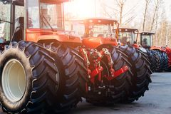 Free Rear View Of Modern Agricultural Tractors With Hydraulic Lifting Frame For Attaching Trailed Equipment Stock Images - 132479194
