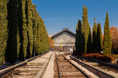 Rear view of old Delicias station in Madrid, Spain Royalty Free Stock Photography