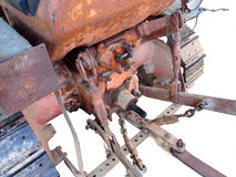 Rear view of old italian crawler tractor royalty free stock photo