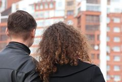 Rear view on pair looking at building Royalty Free Stock Photos