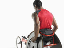Rear View Of Paraplegic Cycler Stock Image