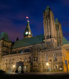 Rear view of Parliament Hill with clock tower. Royalty Free Stock Photo