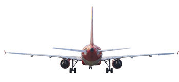 Rear view of passenger jet plane isolated white royalty free stock photos