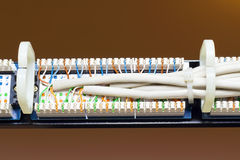 Rear view of the patch panel Stock Photography