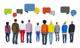 Rear View of People and Empty Speech Bubbles Stock Photos