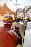 Police officers securing the zone in front of Yellow Jackets Gil royalty free stock image