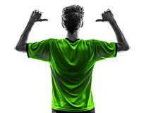 Rear view portrait soccer football player young man pointing  si Royalty Free Stock Image