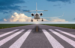 Rear view of a private jet landing Royalty Free Stock Photography