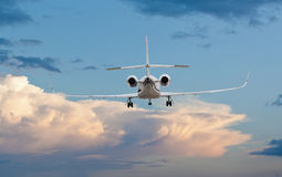 Rear view of a private jet landing. Or taking off Stock Image