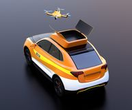 Rear view of quadcopter drone take off from orange electric rescue SUV on black background stock illustration