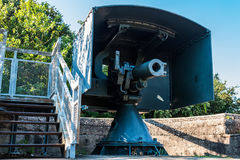 Rear View of Rapid-Fire Gun at Fort Monroe Stock Photos