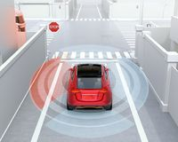 Rear view of red SUV in one-way street detected vehicle left side in the blind spot. Connected car concept. 3D rendering image vector illustration