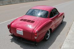 Rear View of Red Volkswagen Karmann Ghia Royalty Free Stock Photo