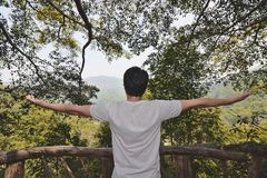 Rear view of relaxed young Asian with arm extended standing against green nature. royalty free stock photo