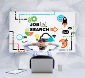 Rear view of the relaxing businessman with crossed hands behind his head, who is looking at the whiteboard with Job search icons. Stock Image