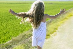 Rear view running open arms little girl in meadow Royalty Free Stock Images