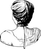 Rear view of 1700s style female hair Royalty Free Stock Image