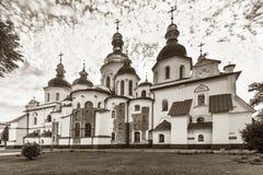 Rear view of Saint Sophia Cathedral in Kiev, 11th century, black. Rear view of Saint Sophia Cathedral in Kiev, black and white photo toned sepia Stock Image