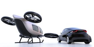 Rear view of self-driving car and passenger drone parking on the ground. 3D rendering image Stock Photography