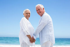 Rear view of a senior couple holding hands Stock Image