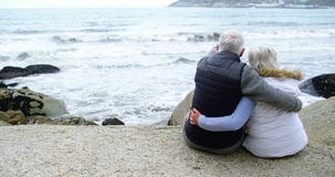Rear view of senior couple looking at sea