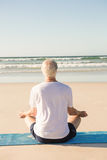 Rear view of senior man doing yoga at beach Stock Photo