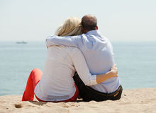 Rear view of senior man and woman together royalty free stock photo