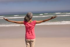 Senior woman with arms stretched out standing on beach. Rear view of senior woman with arms stretched out standing on beach in the sunshine royalty free stock photo