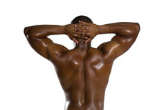 Rear view of shirtless sportsman with hands behind head Stock Photos