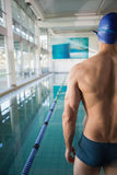 Rear view of shirtless swimmer by pool at leisure center Stock Images