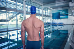 Rear view of shirtless swimmer by pool at leisure center Royalty Free Stock Photography