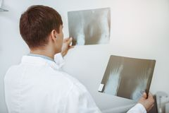 Male doctor examining x-ray scan at his office royalty free stock photography