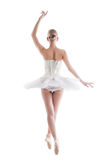 Rear view of slender young ballerina in tutu Stock Photos