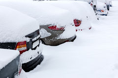 Rear view of snow covered parked cars Royalty Free Stock Photos